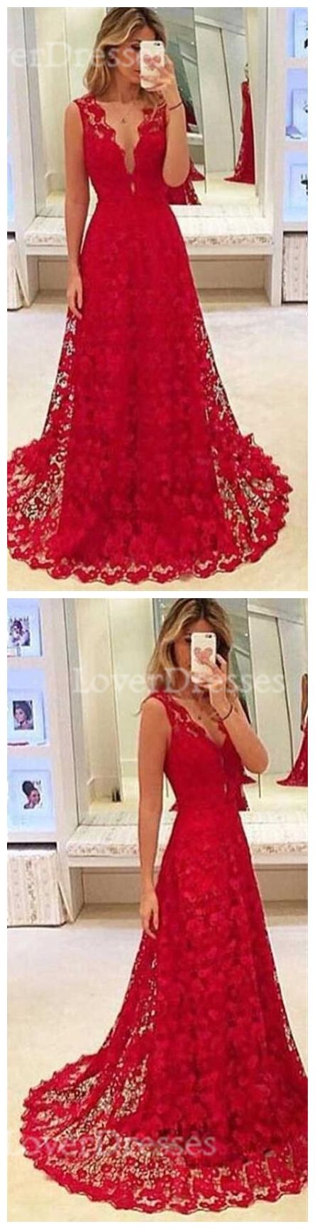 Red lace prom dresses, A line prom dresses, 2017 long prom dresses, prom dresses cheap, dresses for prom, 17132