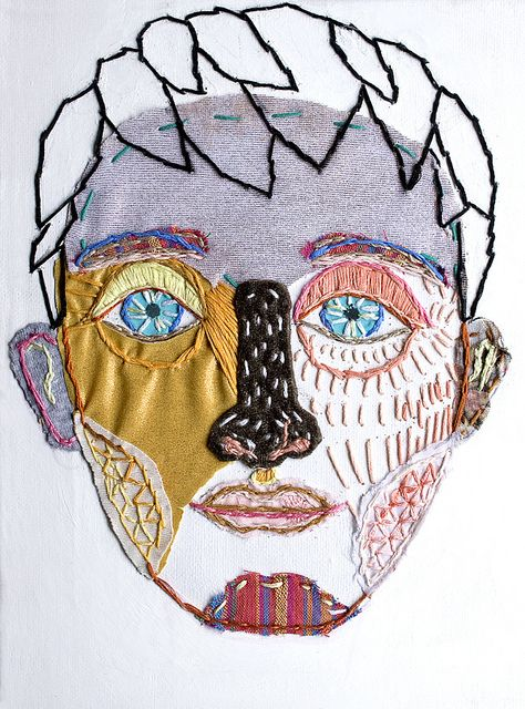 modern embroidered face