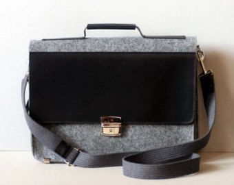 Felt leather laptop bag