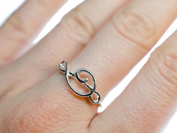Clave de sol clave de partituras música anillo Miniblings