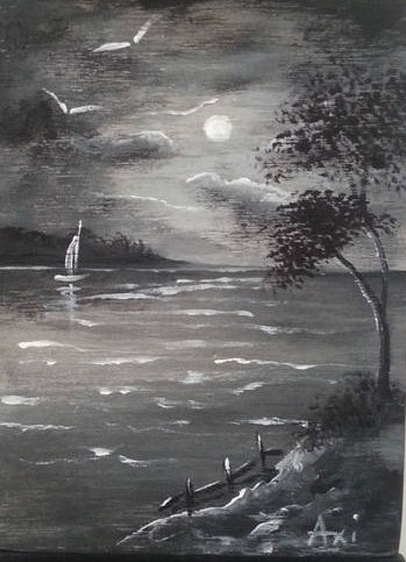 Black And White Seascape Painting Acrylic Paint Sea View