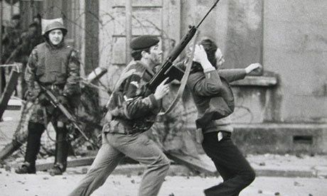 On the morning of Sunday 30 January 1972, around ten thousand people gathered in Londonderry for a civil rights march. The British Army had sealed off the original route so the march organisers led most of the demonstrators towards 'Free Derry Corner' in the nationalist Bogside area of the city. Despite this, a number of people continued on towards an army barricade where local youths threw stones at soldiers, who responded with a water cannon, CS gas and rubber bullets.