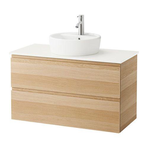 IKEA - GODMORGON/ALDERN / TÖRNVIKEN, Mobile/lavabo 45/piano bagno, bianco, effetto rovere con mordente bianco, 102x49x74 cm, , 10 anni di garanzia. Scopri i termini e le condizioni nell'opuscolo della garanzia.I piani di lavoro in laminato sono molto resistenti e di facile manutenzione. Basta poco per mantenerli come nuovi anno dopo anno.Puoi collocare il lavabo dove vuoi: a sinistra, a destra o al centro.Cassetti a scorrimento e chiusura morbidi, con fermacassett...