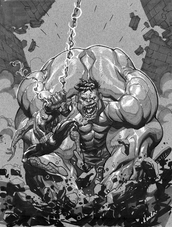 #Hulk #Fan #Art. (Spidey vs. Hulk) By: Chuckdee. ÅWESOMENESS!!!™ ÅÅÅ+