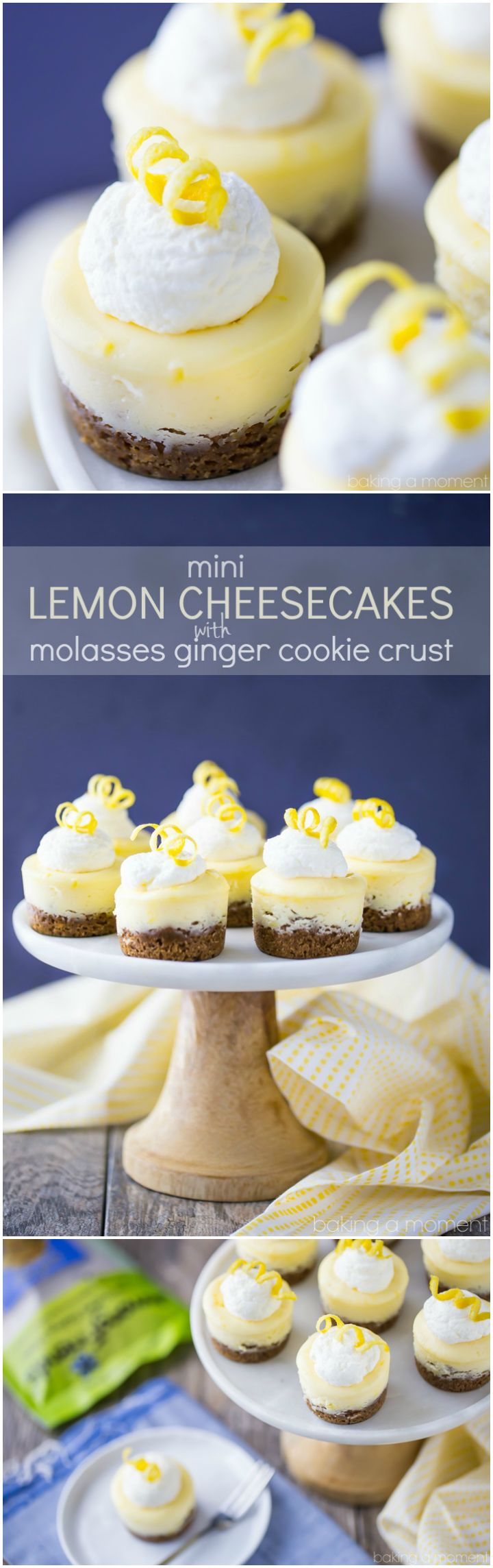So cute for a party! These creamy Mini Lemon Cheesecakes are a perfect compliment to their soft & chewy ginger molasses cookie crust. @AFBakingMixes #spon