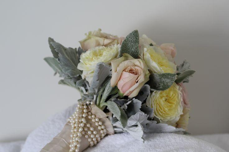 Bouquet binding for a pearl girl www.wanakaweddingflowers.co.nz/gallery/