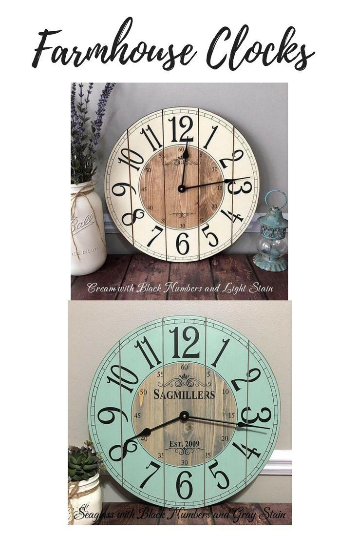 2ebddfeea7f4 16 Inch Farmhouse Clock - Small Rustic Wall Clock - Unique Wall Clock -  Personalized Clock - Distressed Clock - Wooden Clock - #affiliate