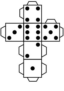 Printable die dice by @snifty, A template for printing out dice to use in game for kids, language learning, etc.