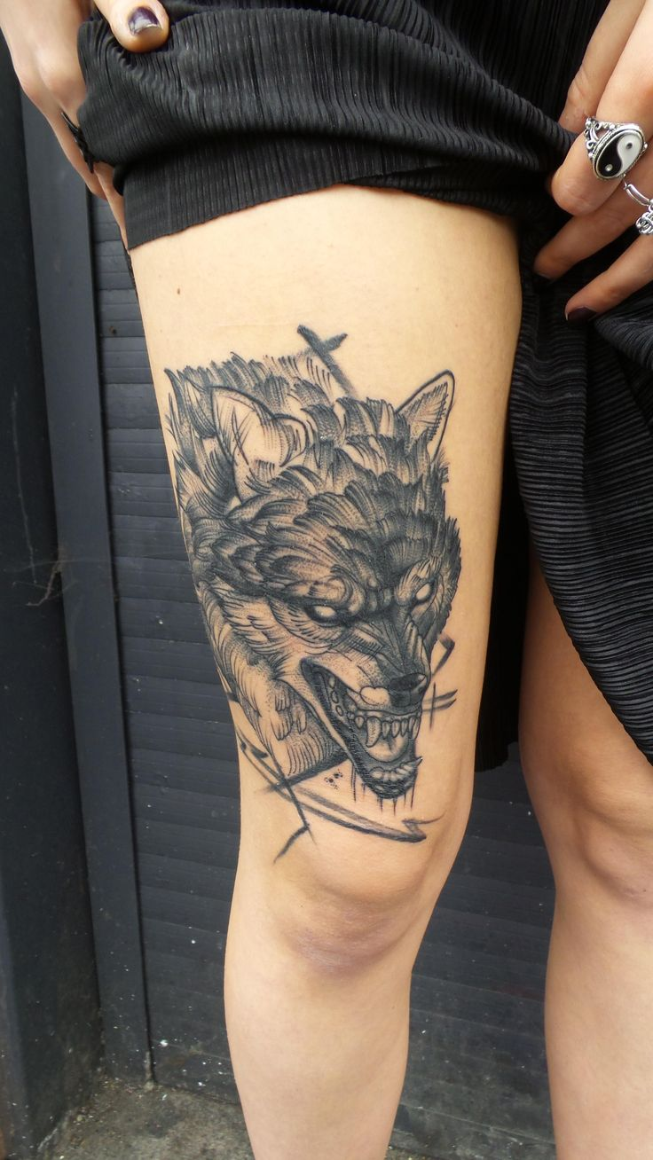 Wolf Tattoo by Me ( Jack Mangan ) Done at The Ink Factory Dublin Ireland. You can see more of my work on Instagram @shiftyshamrock