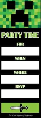 FREE Minecraft invitation (printable)