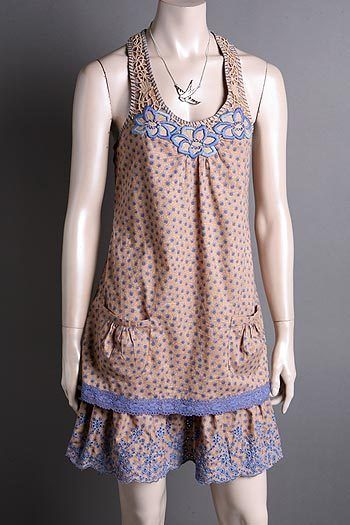 Cocoa Crochet Floral Print Sleeveless Dress Size Small