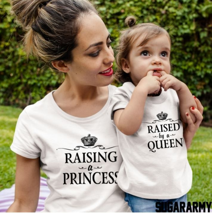 95bb4c5a65 RAISING A PRINCESS ♥ RAISED BY A QUEEN Soft cotton t-shirts combined with  the ultimate print! Mother Daughter matching outfit that is absolutely a  must!
