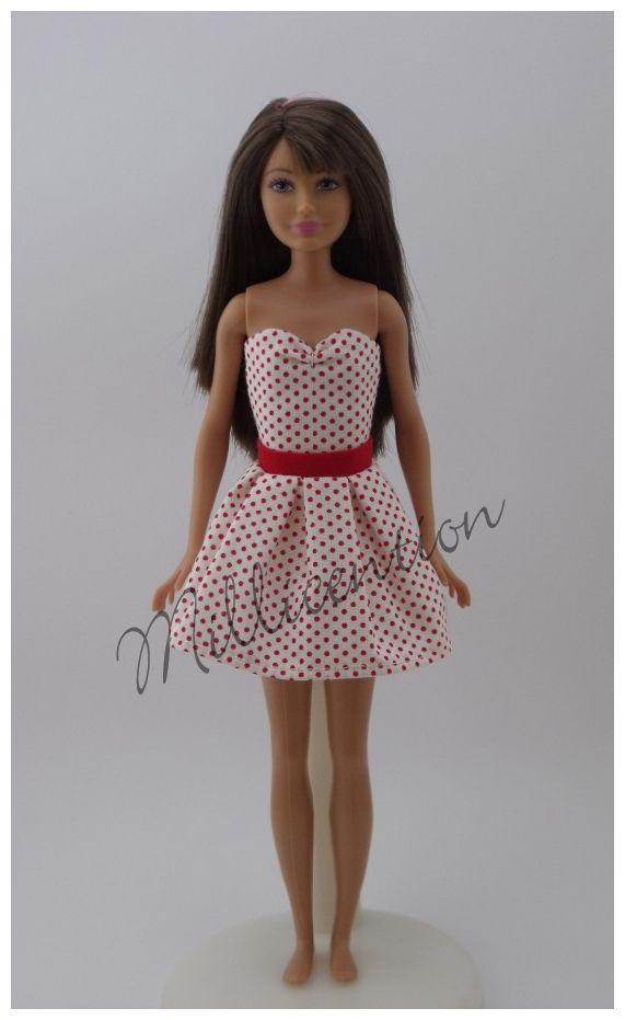 Red-cream polka dot top & skirt for Skipper dolls