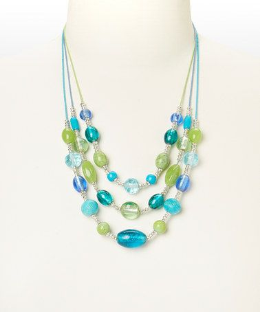 Loving this Blue & Green Triple-Strand Necklace on #zulily! #zulilyfinds