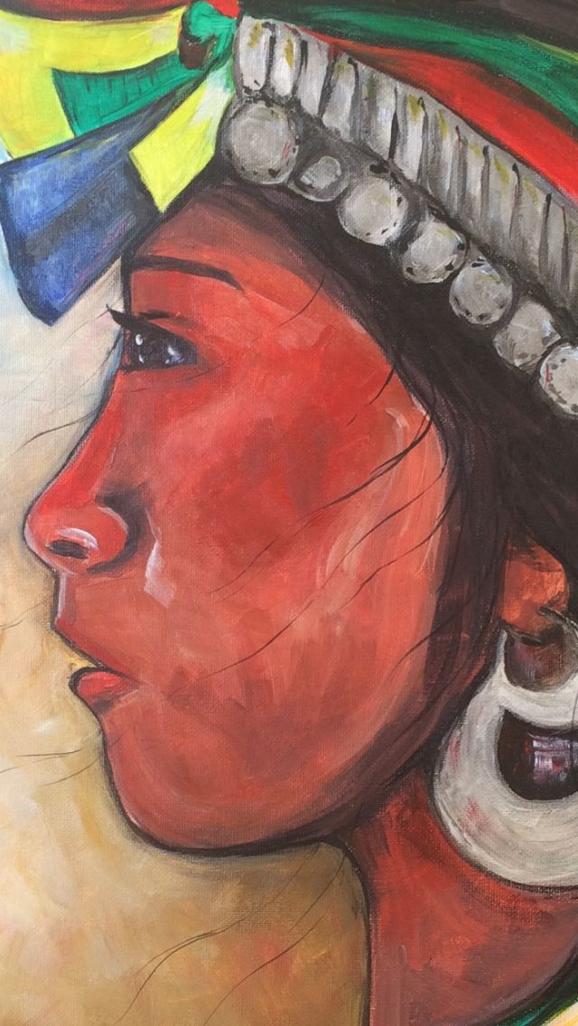 "Detalle ""mujer mapuche"" acrílico"