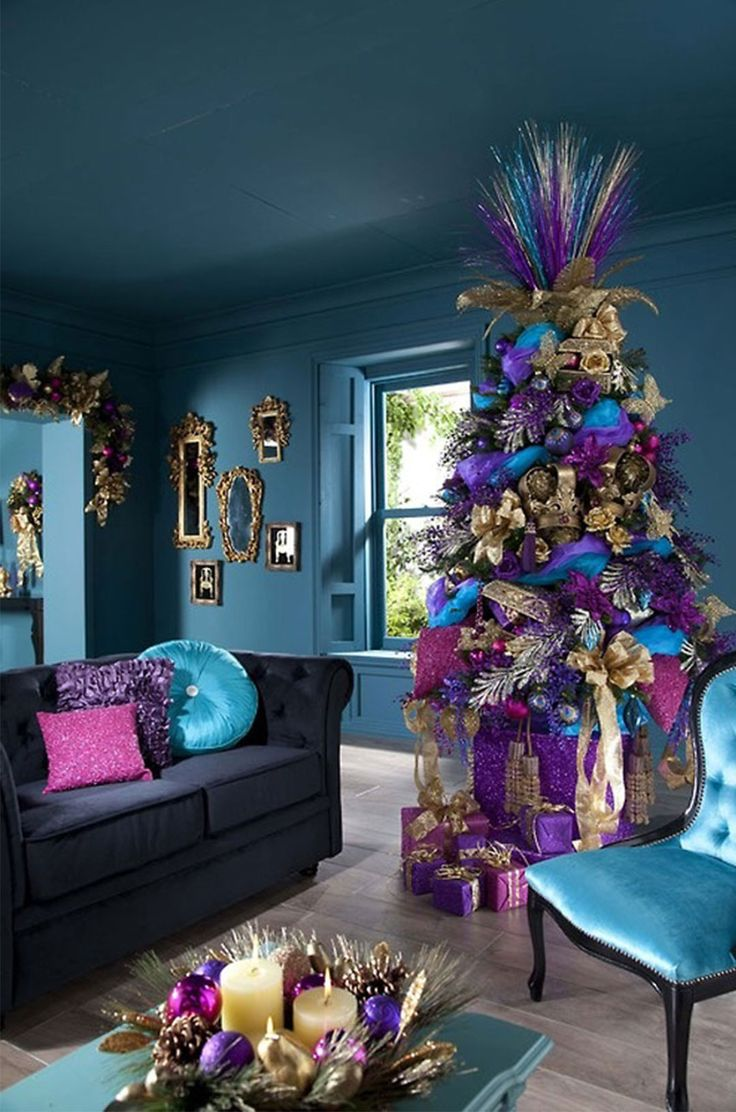 Blue and purple christmas tree decorations - Country Christmas Tree Decorating Ideas Cool Christmas Tree Decorating Ideas