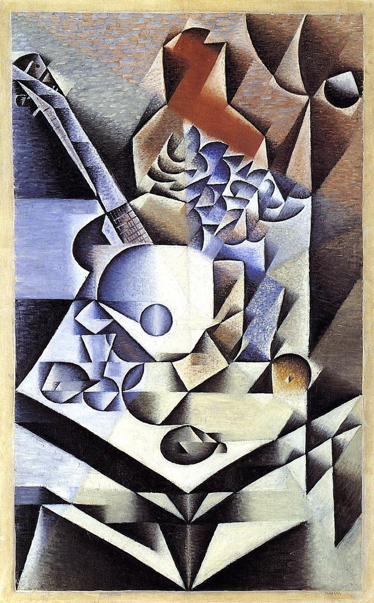 Still life with fruit bowl and mandolin - Juan Gris - WikiPaintings.org