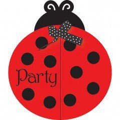 Fancy Ladybug Invites & Envelopes - Bulk (25 Pack)