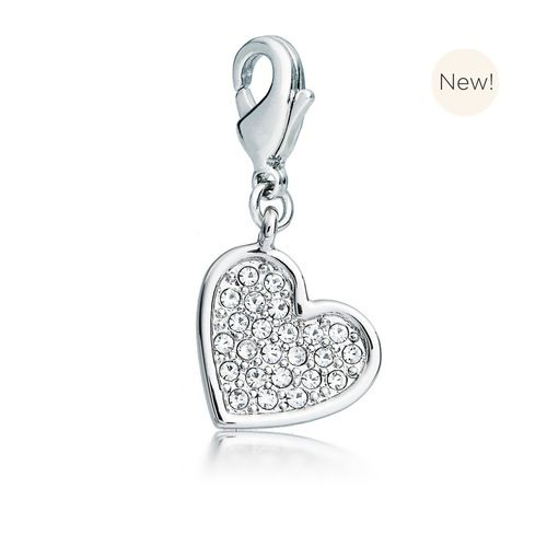 Embellished Heart Charm with Swarovski® Crystals Rhodium Plated