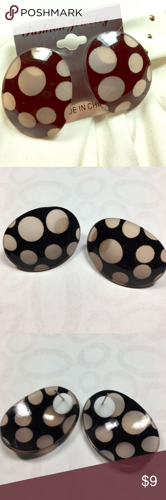 """Restocked!  White Polka Dot Earrings Adorable!  White spotted earrings made of synthetic material.  Background is slightly translucent black.  So much fun!  Approximately 1.75"""" long and 1.35 wide.  Post backs. Jewelry Earrings"""