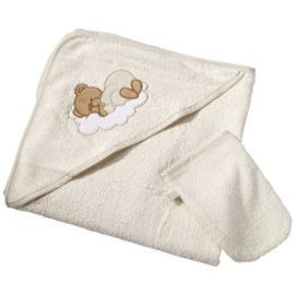 Easy Baby - 360-83 - Sleeping Bear - Serviette De Bain Avec Capuche - Nature