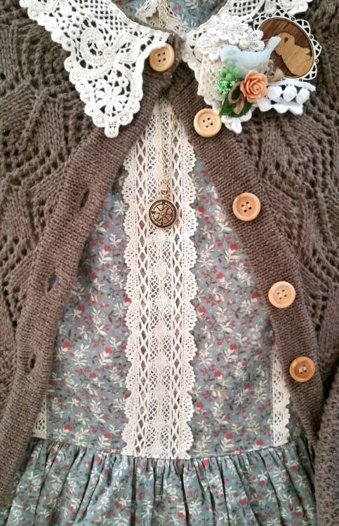 last-cookie-in-the-jar:  Mori/ Country Loli coord for today. I've been loving muted colors, delicate patterns, soft knits, and cotton. In the warm spring weather I want something  easy and comfortable to wear!  Dress: Miss Point Cardgan: Wonder Rocket