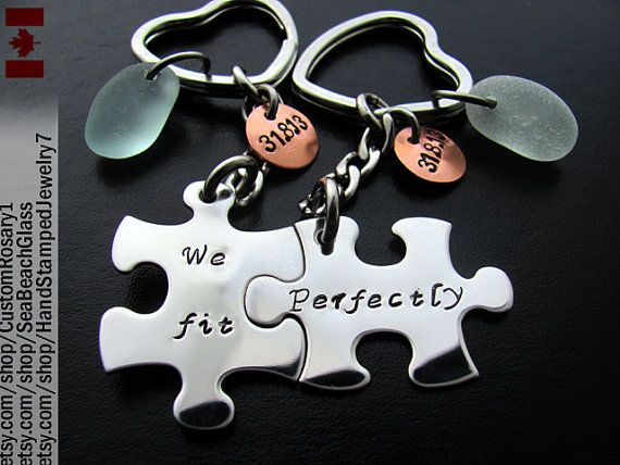 Puzzle Piece Keychain Set. Hand Stamped Custom. Key Chain. His and Hers. Gift Idea. We Fit Perfectly. Mens. BFF. Stainless Steel. Husband on Etsy, $56.97