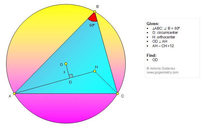 Geometry Problem 1312: Triangle, 60 Degrees, Circle, Circumcenter, Orthocenter, Distance, Perpendicular, Measurement