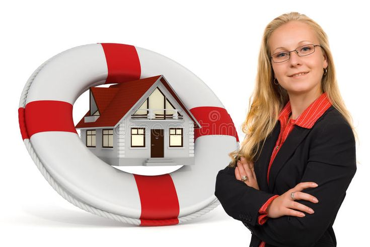 House insurance services icon with a blond business woman