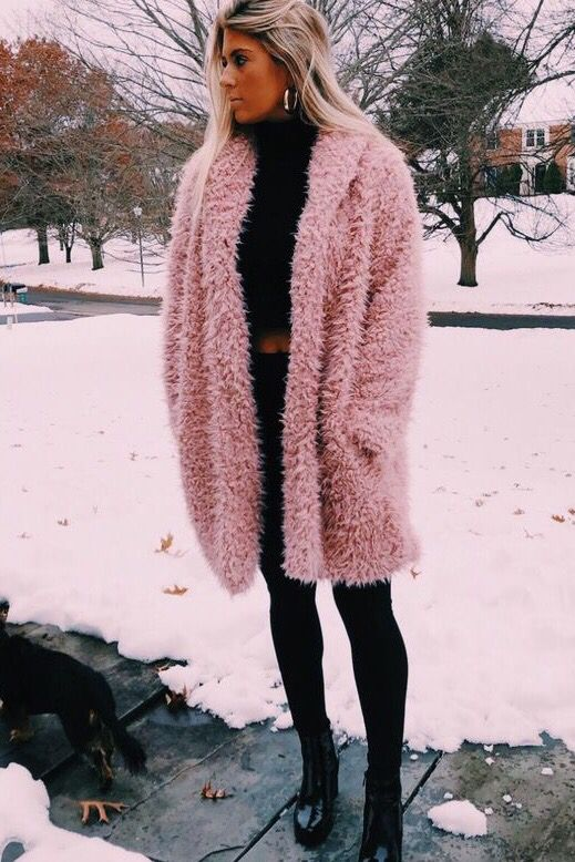 67a8859c8327 Warm Cozy Fall Winter Teddy Bear Coat Jackets Outfits. Casual chic classy  street styles fashion inspo. Snow day ootd ideas. Black sweater leggings.