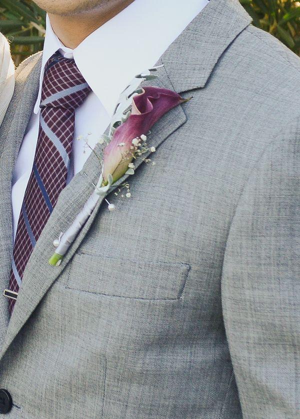 burgundy calla lily boutonniere
