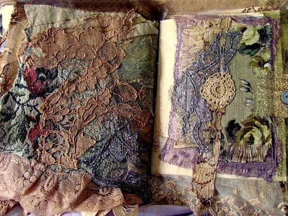 Shabby Chic Tattered Lace Journal, Inside - Suzy Quaife via art-e-zine.com