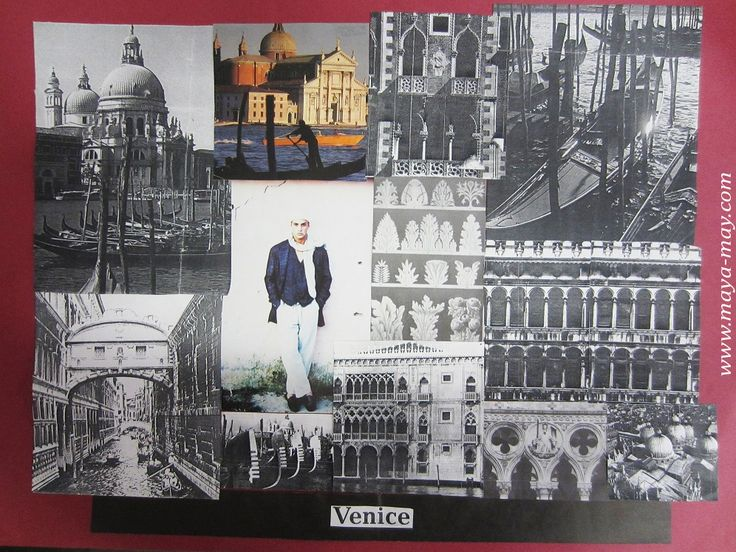 """Venezia"" by Angela Kurnia. Inspiration board. Photos, paper & fabrics Collage. #fashion #inspirationboard #art #storyboard #trend #summer #photography #collage #theme #concept #architecture #menswear"