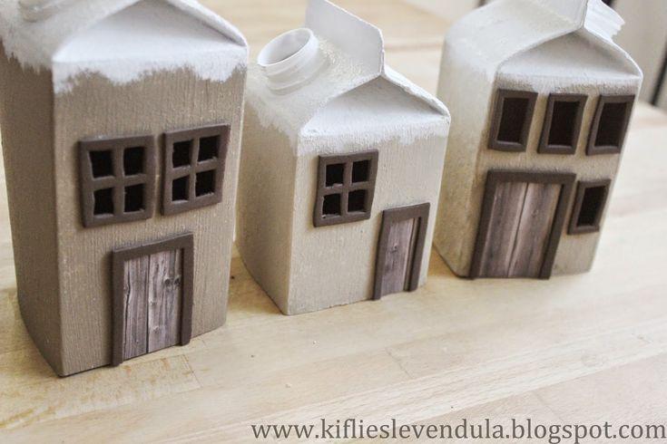 Kifli és levendula: Karácsonyi házikók tejesdobozból