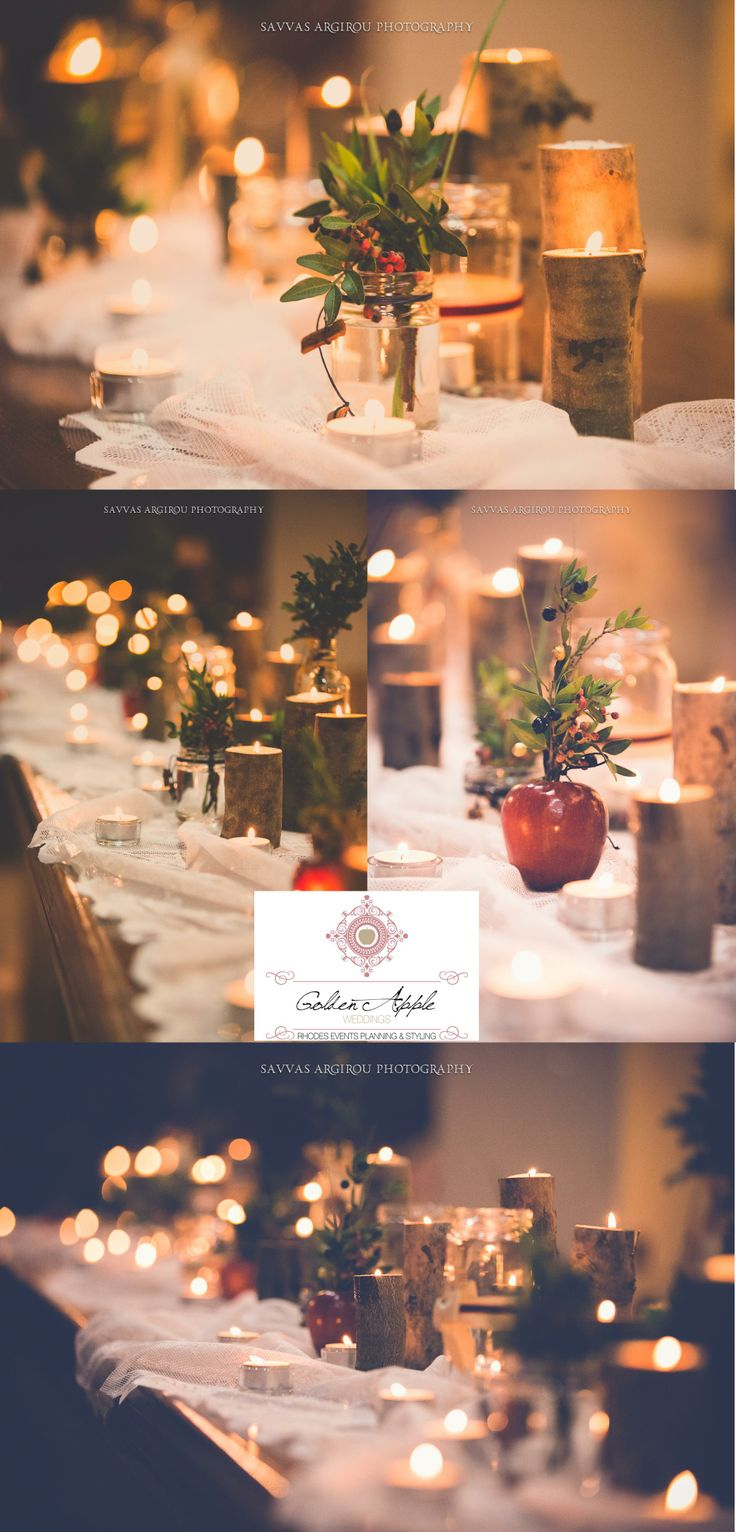 #Apple  #Cinnamon - #Winter #Theme #Wedding!design by #GoldenAppleWeddings in #Rhodes #Greece , #logs with candles. #bar dressed with white #lace  beige #gauze #savvasargirou wedding #photography