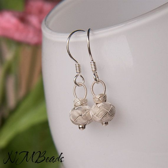 Pure Silver Knotted Ball Earrings Turk's Head Knot by NMBeadsJewelry