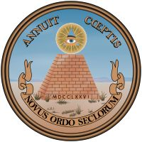 """""""The phrase Novus ordo seclorum (Latin for """"New order of the ages"""") appears on the reverse of the Great Seal of the United States, first designed in 1782 and printed on the back of the United States one-dollar bill since 1935."""""""