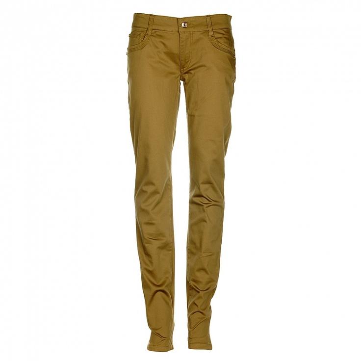 Bavlněné kalhot v khaki barvě mají rovný uzký střih, díky elastenu se udržují v perfektní formě!