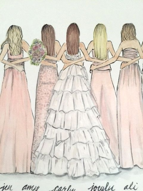 Wedding Party Illustration - Bride and her Girls - Bridesmaids - Custom Plate - Bridal Ceramics