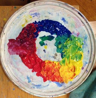 PRAKTISK FARVELÆRER En god måde at lærer at blande farver på... 3 grundfarver 3 steder på en cirkel, derefter bland og mal!