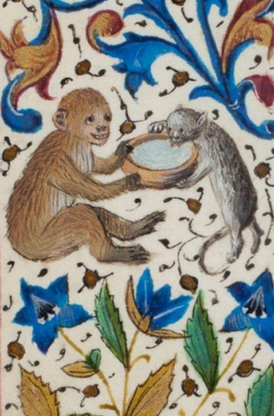 Sharing, from Trivulzio Book of Hours, 1400s. Koninklijke Bibliotheek