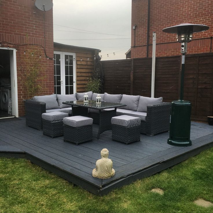 9 Seater Rattan Garden Furniture Grey Decking Garden