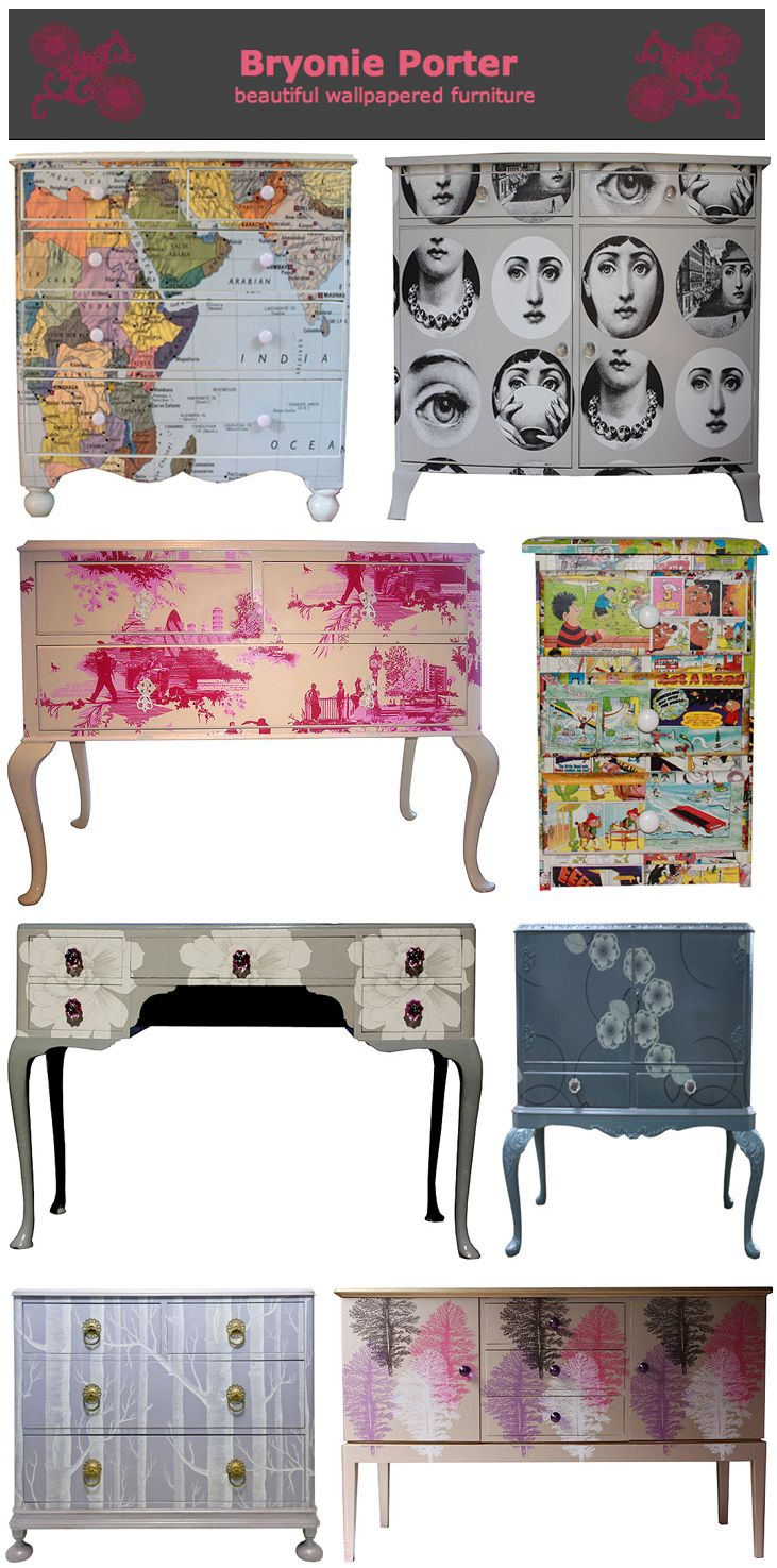 wallpapered furniture | Decorate: Wallpapered Furniture Inspired by Bryonie Porter ...