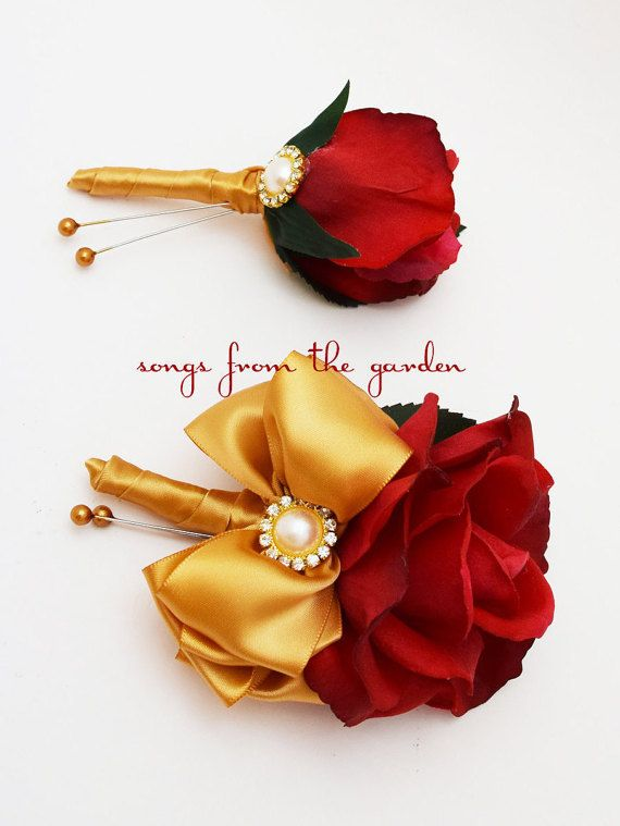 Red and Gold Real Touch Rose Wedding Boutonniere & Wedding Corsage Rhinestone Pearl Accents - Wedding Boutonniere Corsage Prom Homecoming