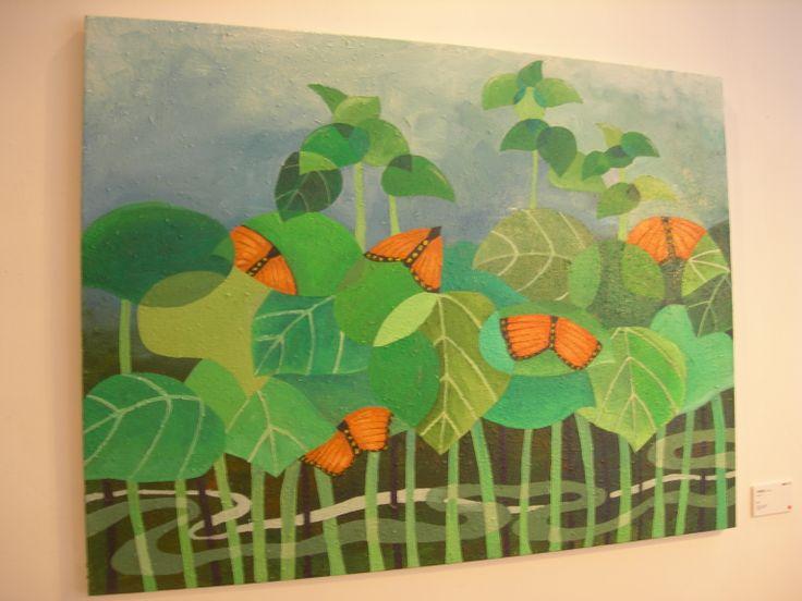 這畫也很有趣 葉子和蝴蝶融合成一體 很巧妙