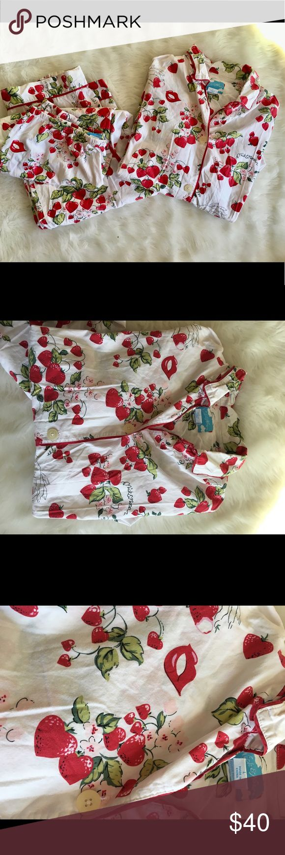 Nick & Nora Pajama Set Strawberries Hearts Lips Nick & Nora Pajama Set Strawberries Hearts Lips White Womans Large 100% cotton  Two front pockets on top Drawstring Waist  SIZE LARGE  Super clean without any flaws Nick & Nora Intimates & Sleepwear Pajamas