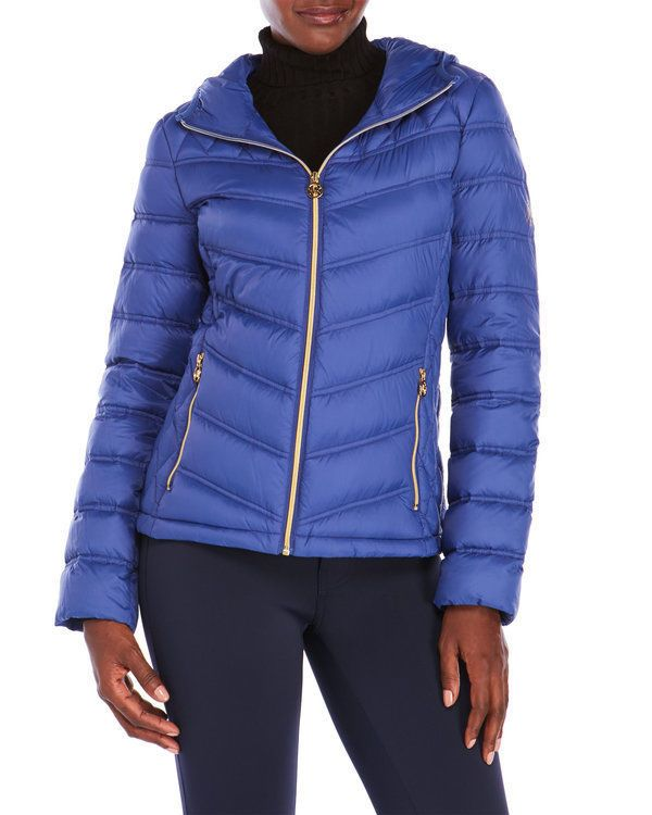 5d413c98bc0a Michael Kors Women Hooded Packable Down Jacket Light Blue Cobalt sz M or L   160  MichaelKors  Puffer