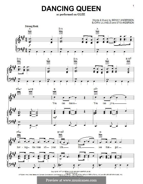 Dancing Queen From Mamma Mia Clarinet Sheet Music Violin