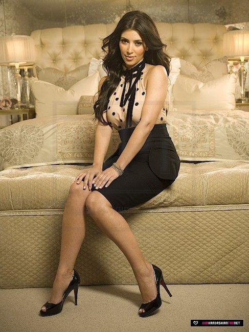 Kim Kardashian wearing Christian Louboutin Very Prive Satin Peep-Toe Pumps. Kim Kardashian InTouch Weekly 2006.