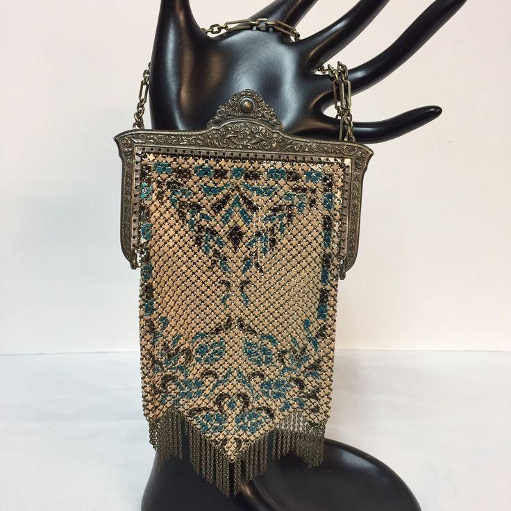 Mandalian de malla de Metal Cartera Bolso Aleta Esmalte Antiguos Art Deco Flecos Cadena Verde Azulado | eBay